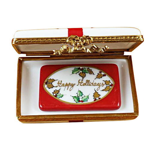 Rochard Gift Box With Red Bow - Happy Holidays Limoges Box RX115-H