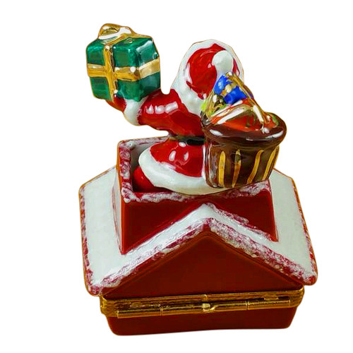Santa Claus On Roof With Presents Rochard Limoges Box