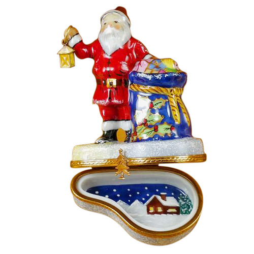 Santa W/Lantern & Gifts Rochard Limoges Box