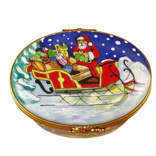Studio Collection-Santa In Sleigh Rochard Limoges Box