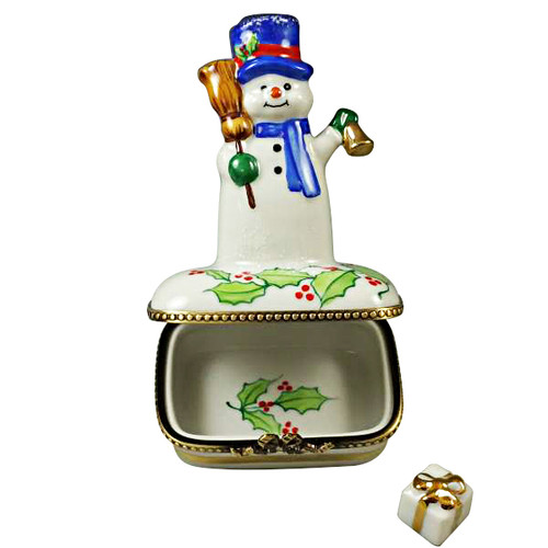 Snowman With Blue Scarf Rochard Limoges Box