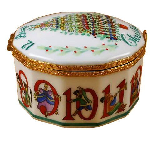 Twelve Days Of Christmas W/ Removable Porcelain Wreath Rochard Limoges Box