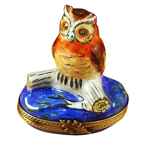 Wise Owl On Blue Base Rochard Limoges Box