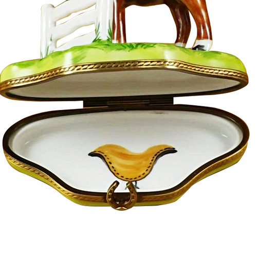 Horse Standing At Fence Rochard Limoges Box