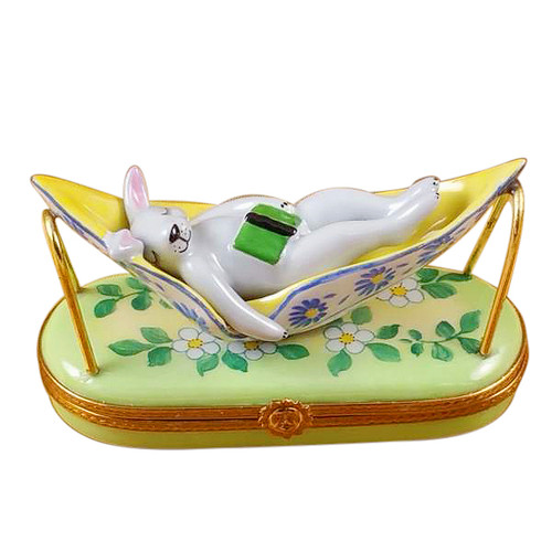 Rabbit In Hammock Rochard Limoges Box