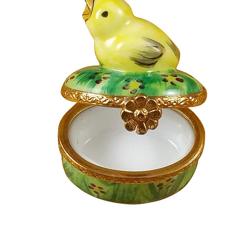 Small Chick On Green Base Rochard Limoges Box