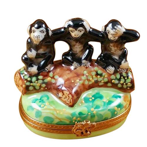 Three Monkeys Rochard Limoges Box
