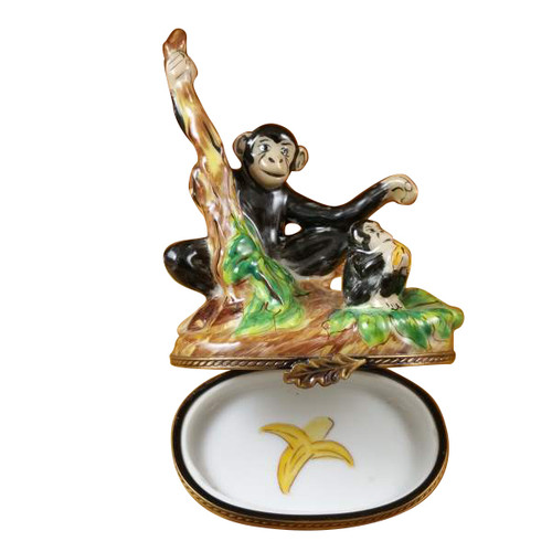 Black Monkey With Chimp Rochard Limoges Box