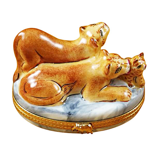 Lioness W/ Cubs Rochard Limoges Box