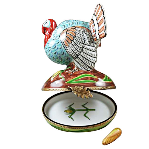 Large Turkey With Removable Ear Of Corn Limoges Box RA318-K