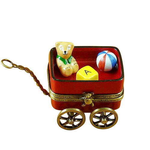 Rochard RED WAGON WITH BEAR Limoges Box RB102-J