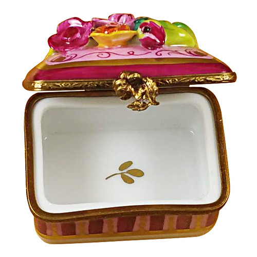 Roses Relief On Rectangle Base Rochard Limoges Box