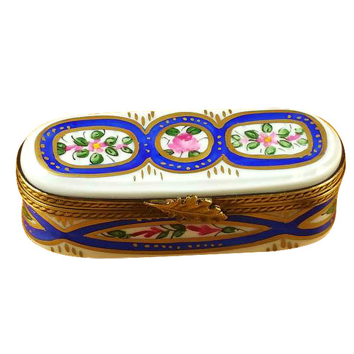 Long Oval With Blue And Flowers Rochard Limoges Box