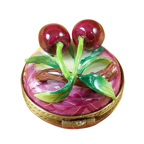 Cherries On Small Round Limoges Box RF004-I