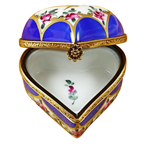 Blue Heart W/ Flowers Rochard Limoges Box