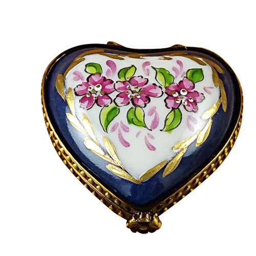 Mini Heart Roses On Blue Base Rochard Limoges Box