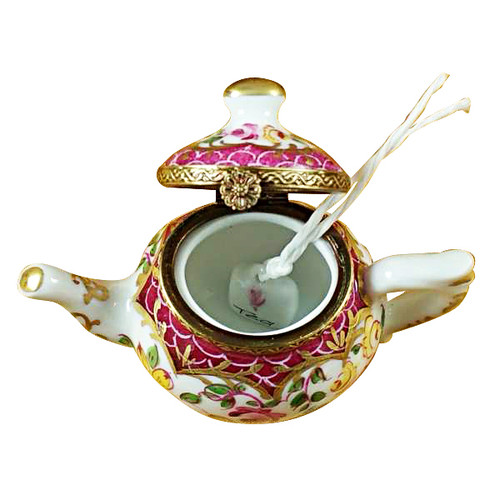 Teapot Flowers And Maroon Scales Rochard Limoges Box