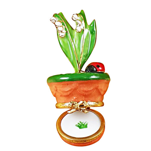Lily Of The Valley W/Ladybug In Pot Rochard Limoges Box RK183-O