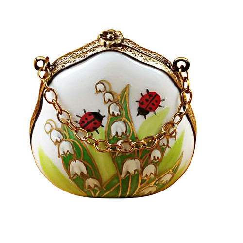Lily Of The Valley Purse With Ladybugs Rochard Limoges Box
