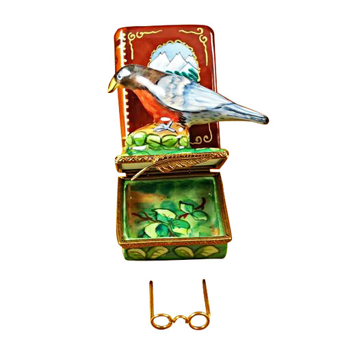 North American Book Of Birds W/ Removable Glasses Rochard Limoges Box