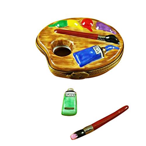 Painter'S Palette W/Paints Rochard Limoges Box