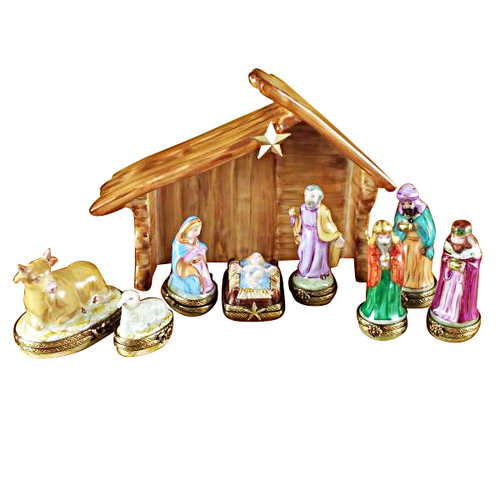 Eight Piece Mini Hinged Nativity W/ Porcelain Stable Rochard Limoges Box