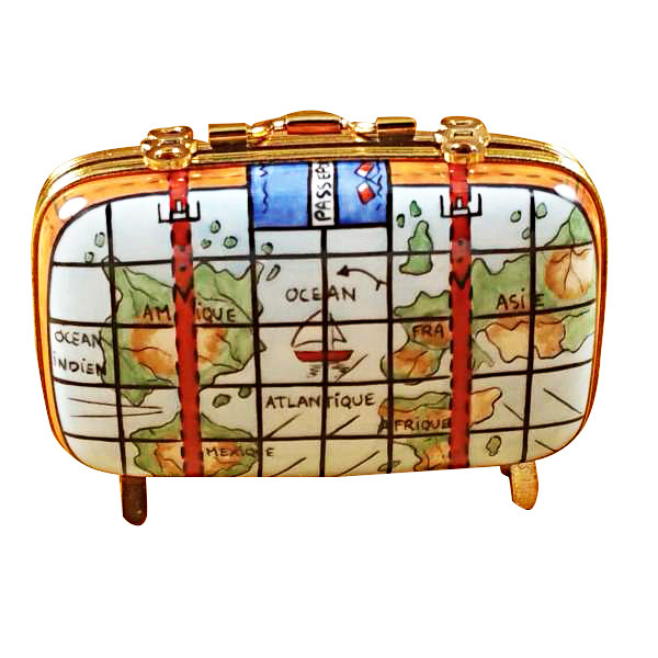Suitcase W/Maps Rochard Limoges Box