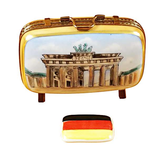 German Travel Suitcase W/Flag Rochard Limoges Box