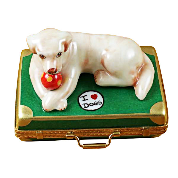 Limoges Imports Yellow  Lab On Suitcase Limoges Box