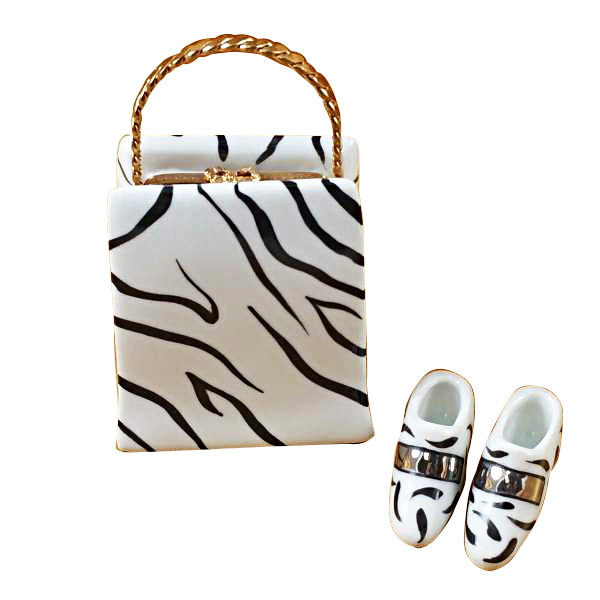 Limoges Imports Zebra Bag With Shoes Limoges Box