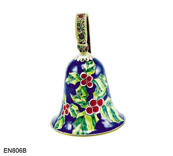 EN806B Kelvin Chen Christmas Holly Bell Enamel Ornament