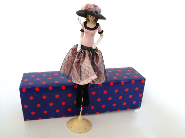 Pink and Black with black hat Tassel Doll TD289