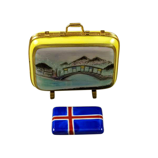 ICELAND SUITCASE WITH REMOVABLE FLAG Limoges Box RT281-M