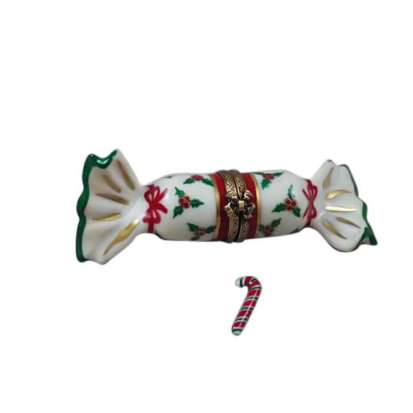 Rochard CHRISTMAS CRACKER W/ CANDYCANE Limoges Box RX216-I