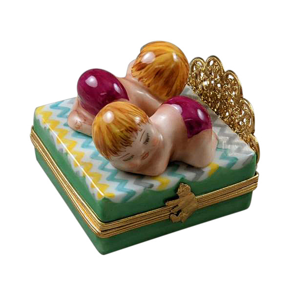 Rochard Twin Bed with 2 Baby Girls Limoges Box RB104GG-M