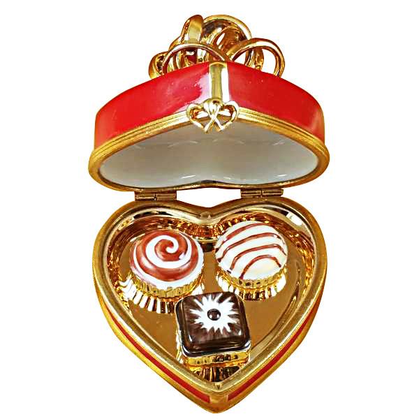 Red Heart Gold Bow W/Truffle Rochard Limoges Box