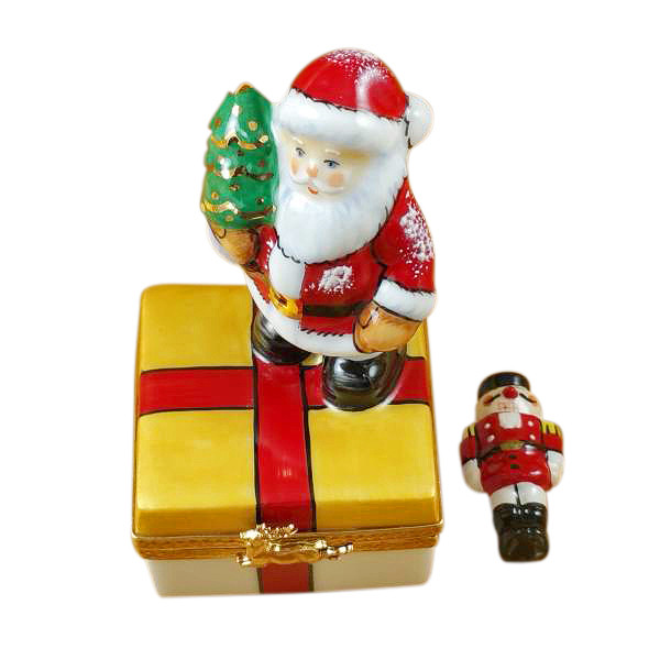 Santa On Present With Removable Nutcracker Rochard Limoges Box