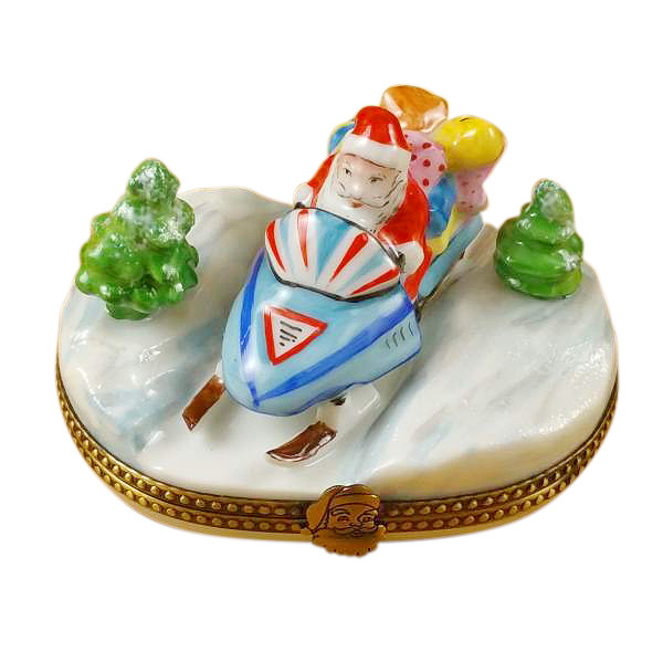 Santa On Snowmobile Rochard Limoges Box
