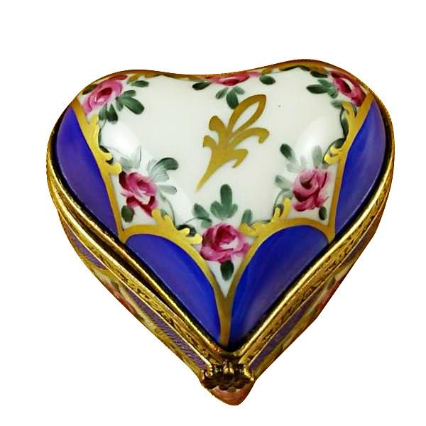 Blue Heart W/ Flowers Rochard Limoges Box