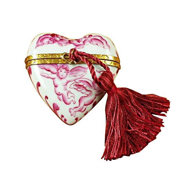 Heart Pink Angel W/Tassel Rochard Limoges Box