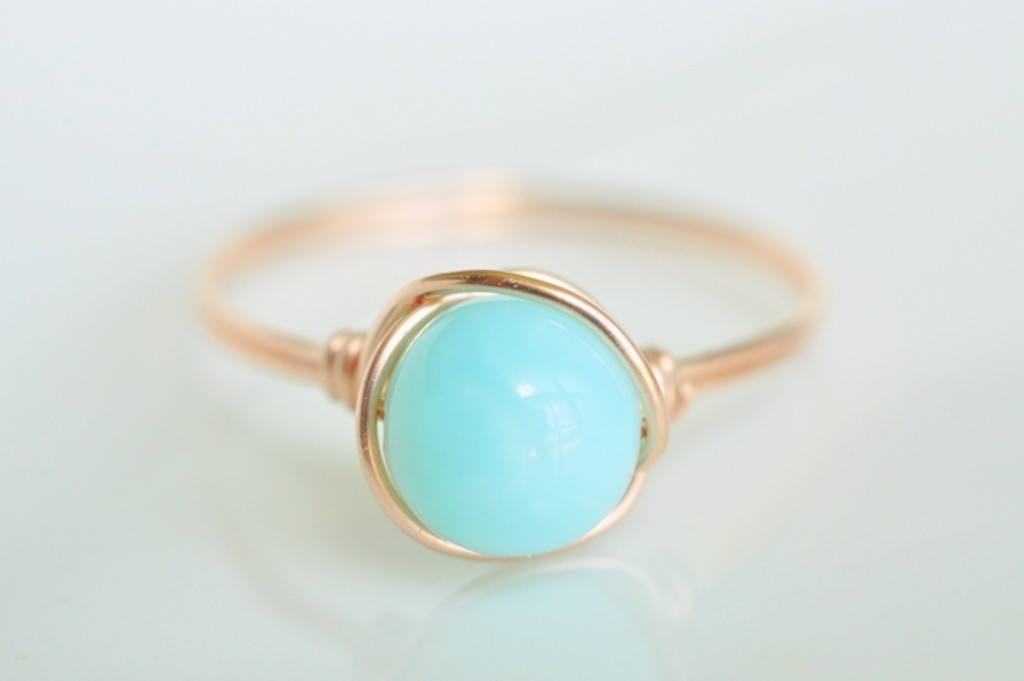 THE HAPPY BLUE peruvian opal wire wrap ring