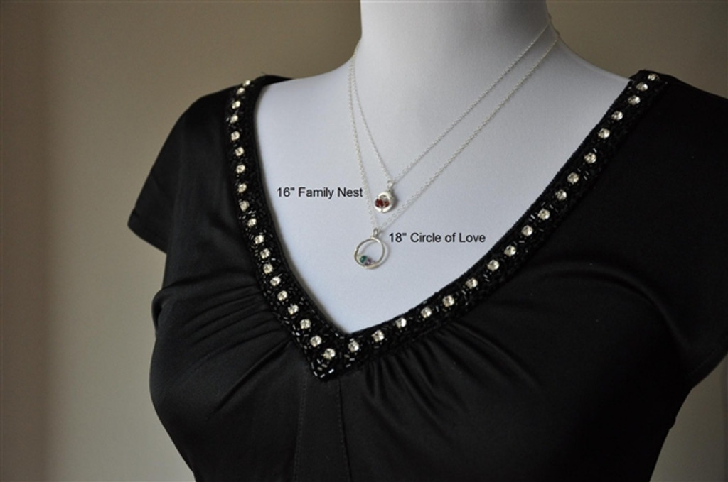 CIRCLE OF LOVE custom mother's birthstone necklace (3 stones) real gemstones