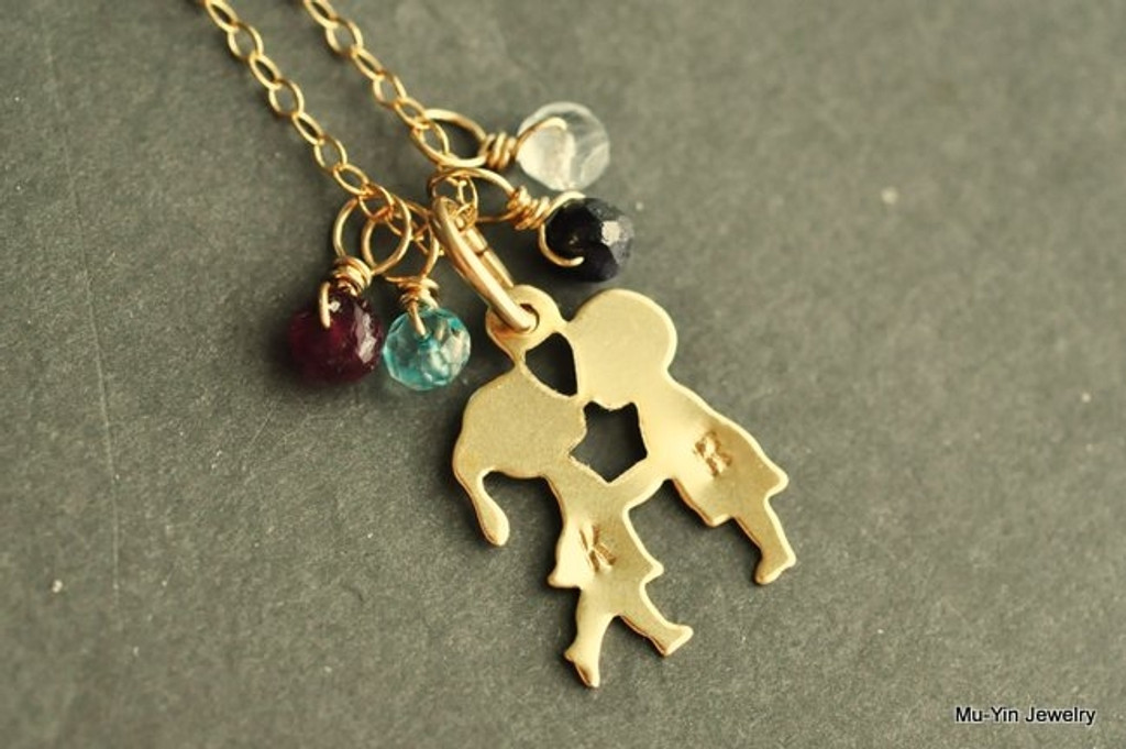 FIRST KISS custom birthstone necklace with initials