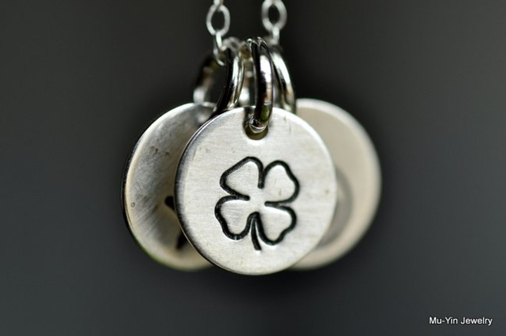 stamped sterling silver necklace, bone,four-leaf clover,peace, recycle,  moon, dragonfly, paw, tree, ying yang, dove, B6 smiley, christian fish, cupid's arrow, snow flake, cross,music note, skull, heart, ribbon, sun, flower, fleur de lis, flower, lotus, bird, bee, leaf, baby foot, butterfly
