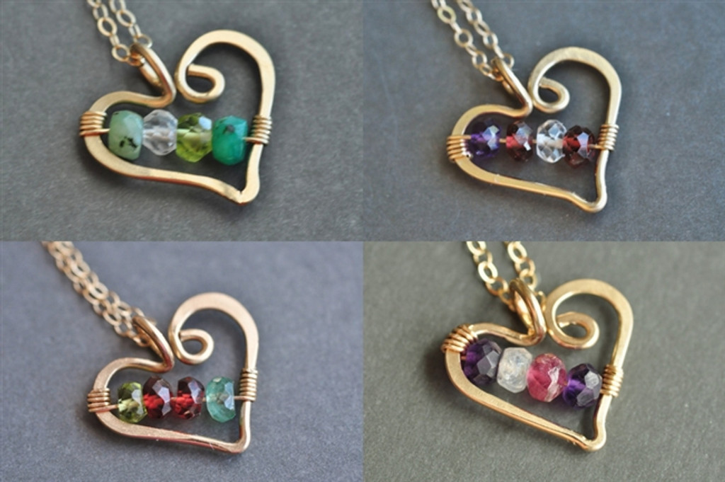OPEN HEART custom mother's / grandmother's birthstone necklace (4 stones)