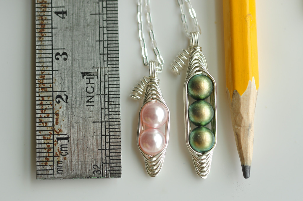 PEAS IN A POD peapod necklace with Custom Colors and Initial Leaf charms  - Swarovski pearls, 14k gold filled