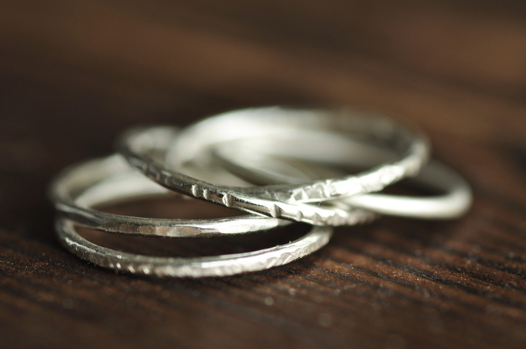 skinny textured stacking ring set of 5 in sterling silver