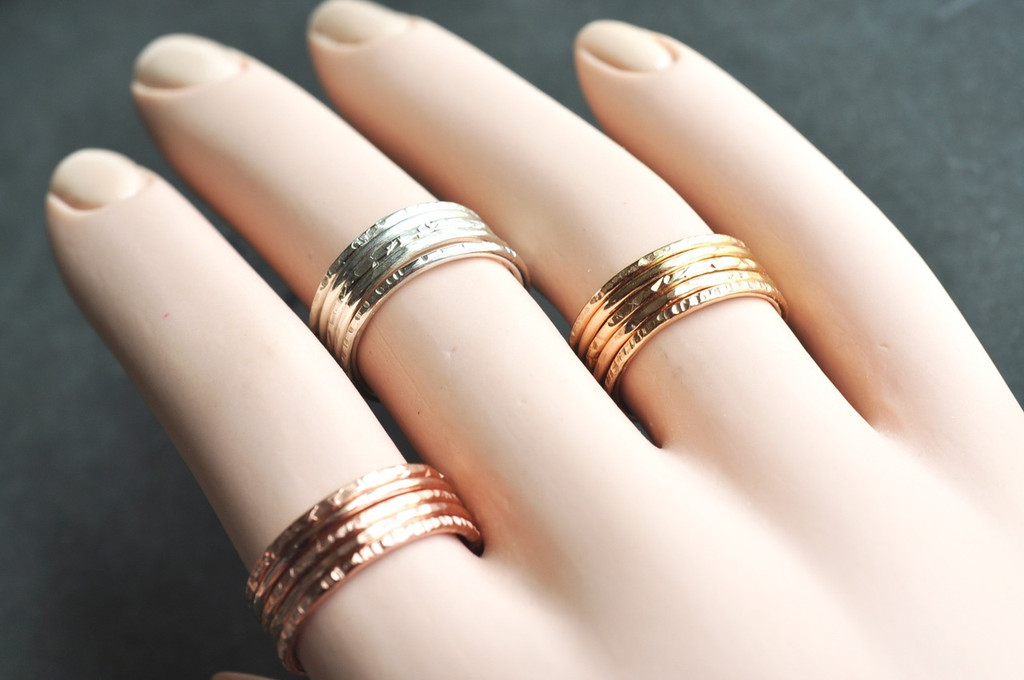 stacking ring in sterling silver, 14k gold filled and 14k rose gold filled