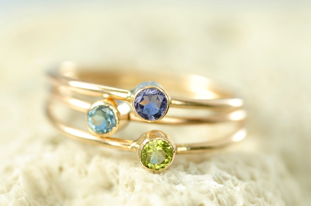solid 14k birthstone ring, gemstone ring, mother's ring | muyinjewelry.com