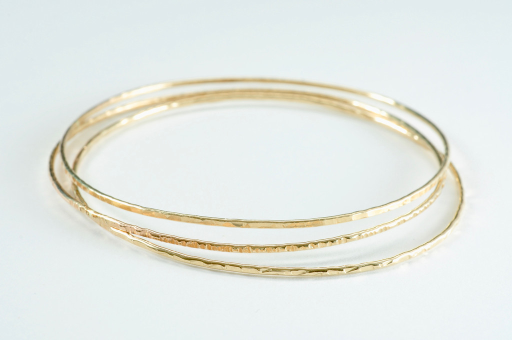 14k gold filled textured skinny bangle set